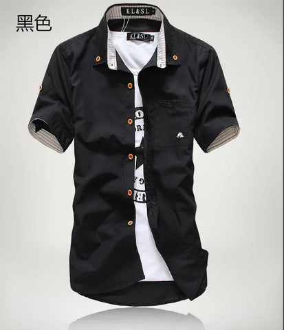 Slim fit Korean-style embroidered shirts