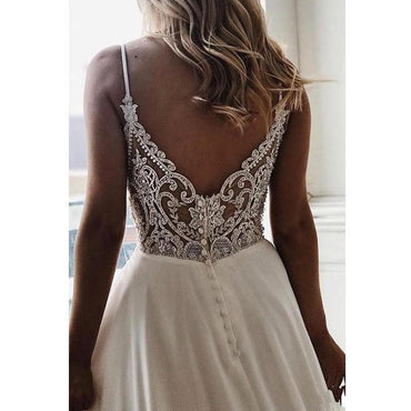 A Line Simple White Bride Wedding Dress