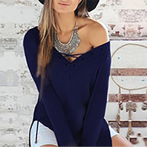 Knitted Sexy V Neck Hollow Out Boho Fringe Sweater