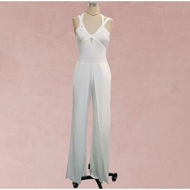 Sexy V-Neck Backless Wide Leg Pant Jumpsuit