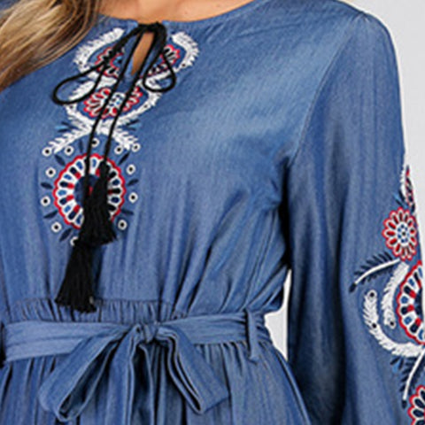 Denim Embroidery Dress