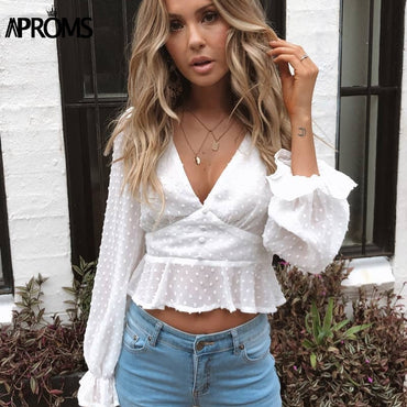 Elegant V-neck Ruffle Cropped Blouse
