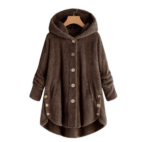 Button Fluffy Tail Tops Hooded Jacket