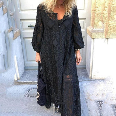 Hollow Out Lantern Sleeve Long Dress