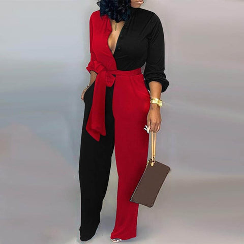 Deep V Neck Long Sleeves Print  Jumpsuit