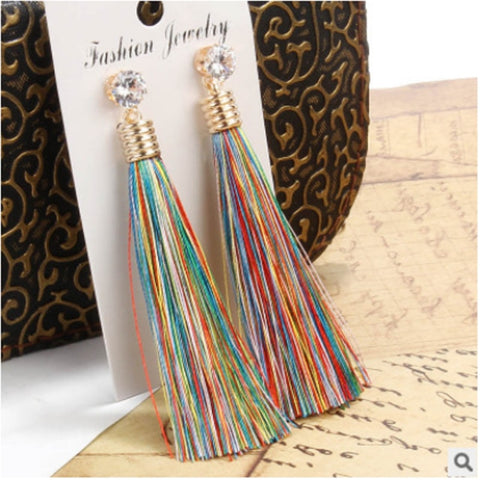 Bohemian Tassel Crystal Long Earrings