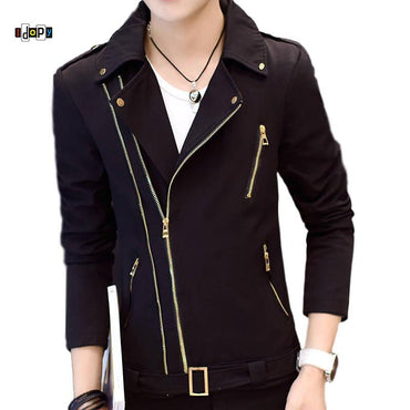 Motorcycle Irregular Zipper Slim Fit Zip Up Lapel Collar Jacket