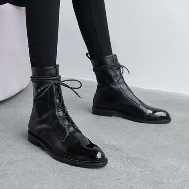 tie leather tip low heel Martin boot