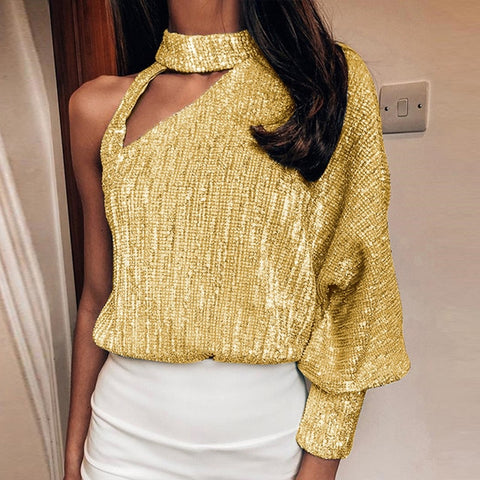 Lantern Long Sleeve Sequin Blouses