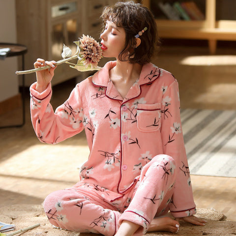 Soft Coral fleece Pajamas Sleepwear