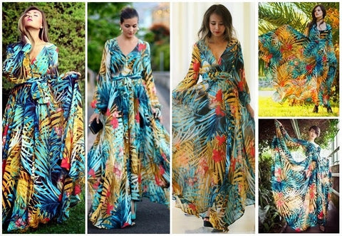 Long Sleeve Boho Beach Maxi Dress