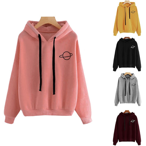 Casual Pullovers Planet Print Hoodies