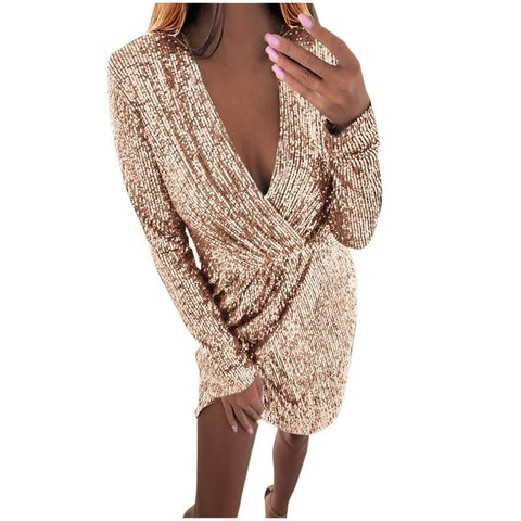 Hollow Out V-neck Slim Sequin Dress