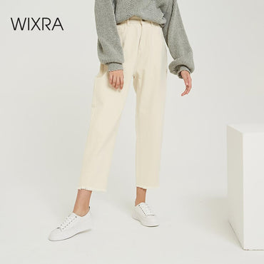 High Waist Pockets Long Trousers
