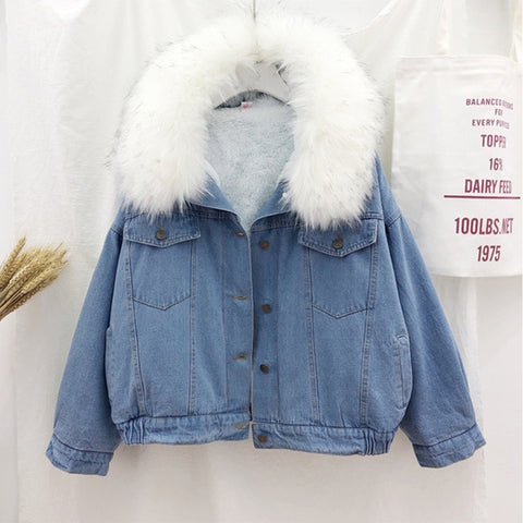 Velvet Thick Fur Collar Denim Jacket