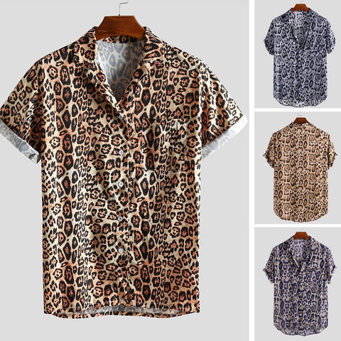 Fashion Leopard Printed Turn Down Collar Short Sleeve Shirt