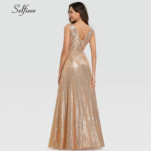 A-Line V-Neck Sleeveless Sequined  Dress
