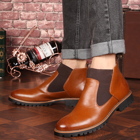 Genuine Leather Ankle Chelsea Boots