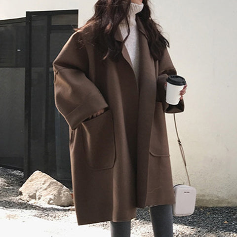 Fashion Pocket Long Sleeve Cardigan Casual Woolen Coat