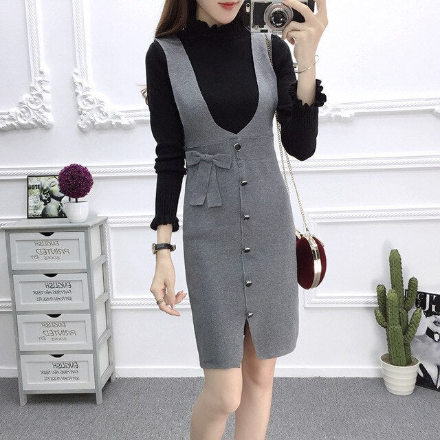 Elegant Sweater Vest Dress