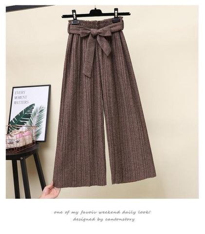 Warm Woolen Pleated Pants