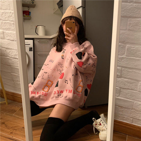 Cartoon Playful Print Pullover Sweatshirt