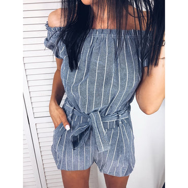 Fashion Striped Bow Tie Rompers