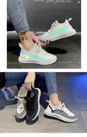 Fashion Breathable Walking Mesh Lace Up Flat Shoes