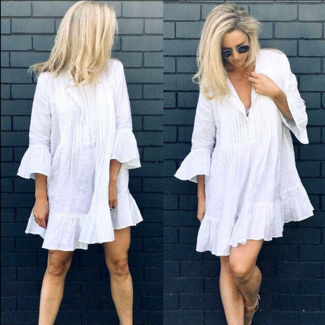 Long Sleeve Ruffle V Neck Dress