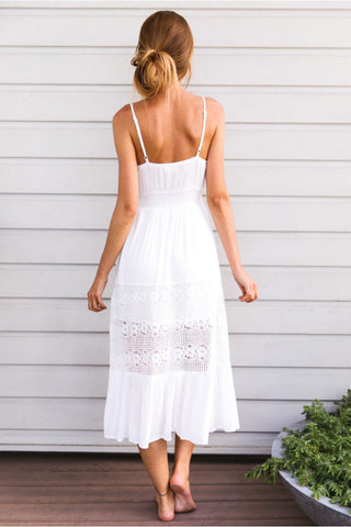 Sundress Strap White Lace bohemian beach dress