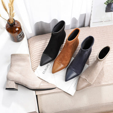 Flock Pointed Toe Square Plush Booties