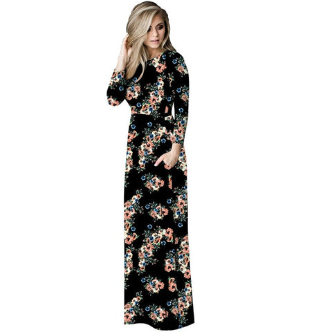 Casual Floral Print O-Neck Long Sleeve Dress