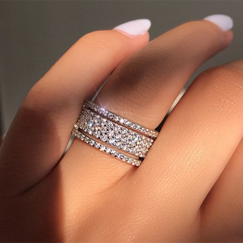 Multi-layer Cubic Zirconia Shining Rings