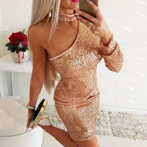 Sexy One-shoulder Backless Sequin Dress