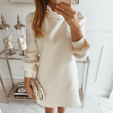 Elegant Button Turtleneck Straigh Dress
