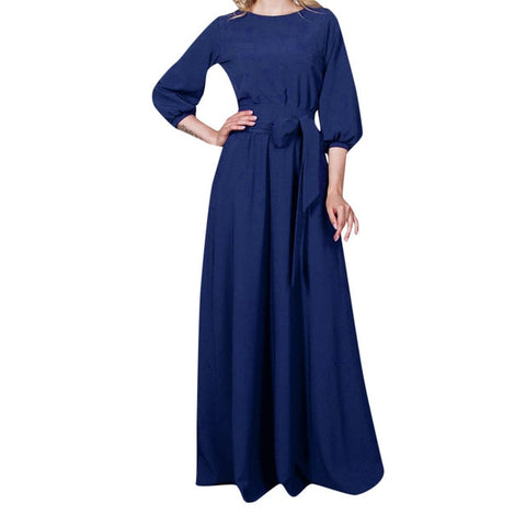 Lantern Sleeve O-neck Dress