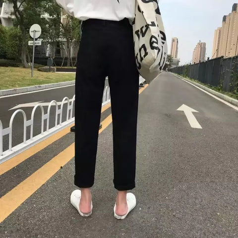 Solid Hole Soft High Waist Streetwear Trousers