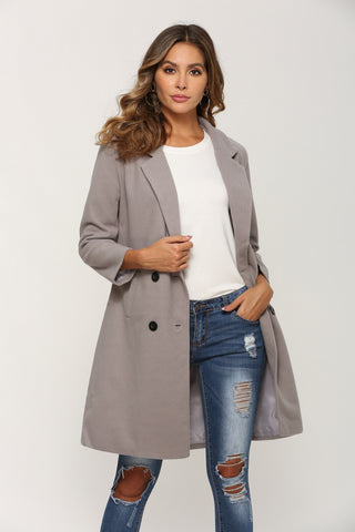 Woollen Long Sleeve Turn-Down Collar Oversize Blazer