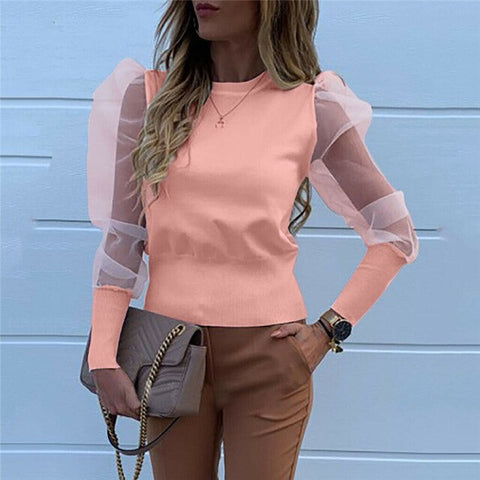 Sheer Mesh Puff Sleeve Women Blouses