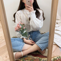 Long Sleeve Linen Cotton Blouse