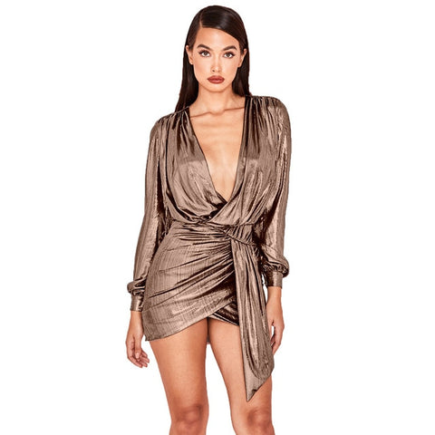 Solid Ribbed Puff Sleeve V Neck Wrap Dress