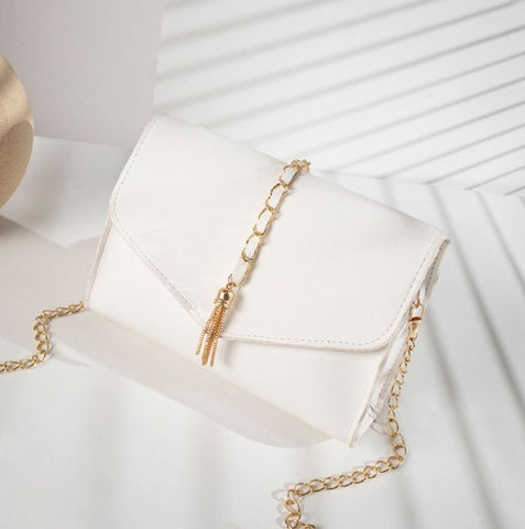 Gold Chain Faux Leather Cross Body Bag