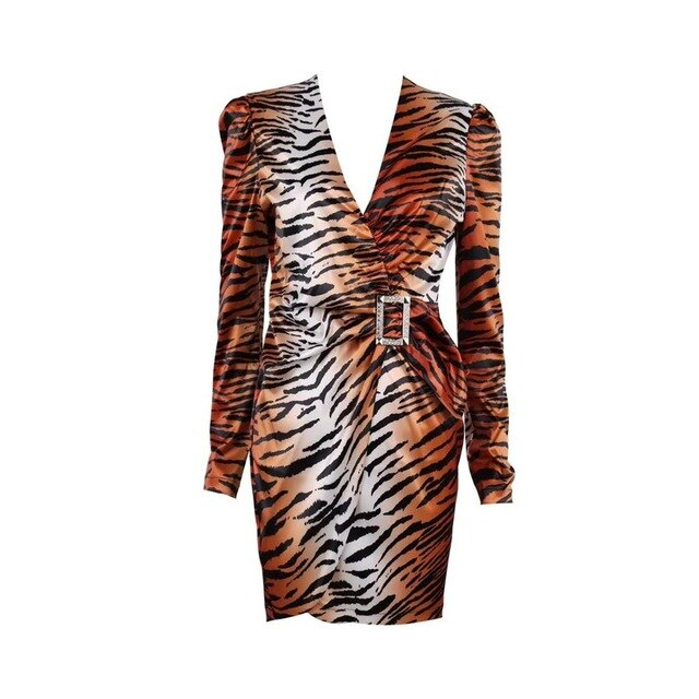 Tiger Print V-neck Dress