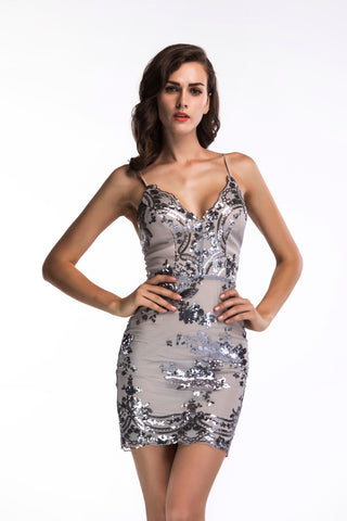 Sequins Shiny V-neck Dress
