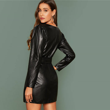 Glamorous Surplice Wrap Belted PU Leather Dress