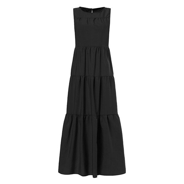 Sleeveless Solid Loose Pleated Dress