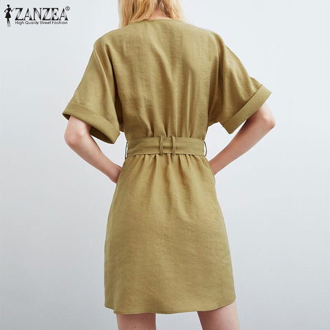 V neck Short Sleeve Dress