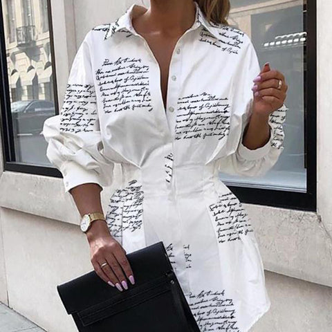 Turndown Collar Letter Printed Shirt Dress