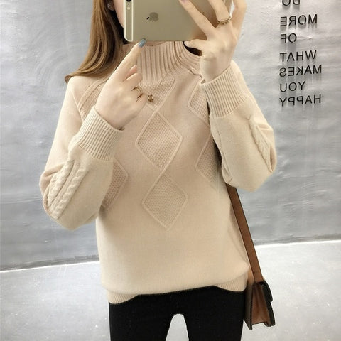 long sleeve knitted turtleneck sweaters