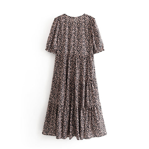 Vintage Print Flowers Dress Elegant A-line  Dresses